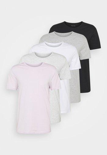 5 PACK - T-shirt basique - dark grey/light grey/black