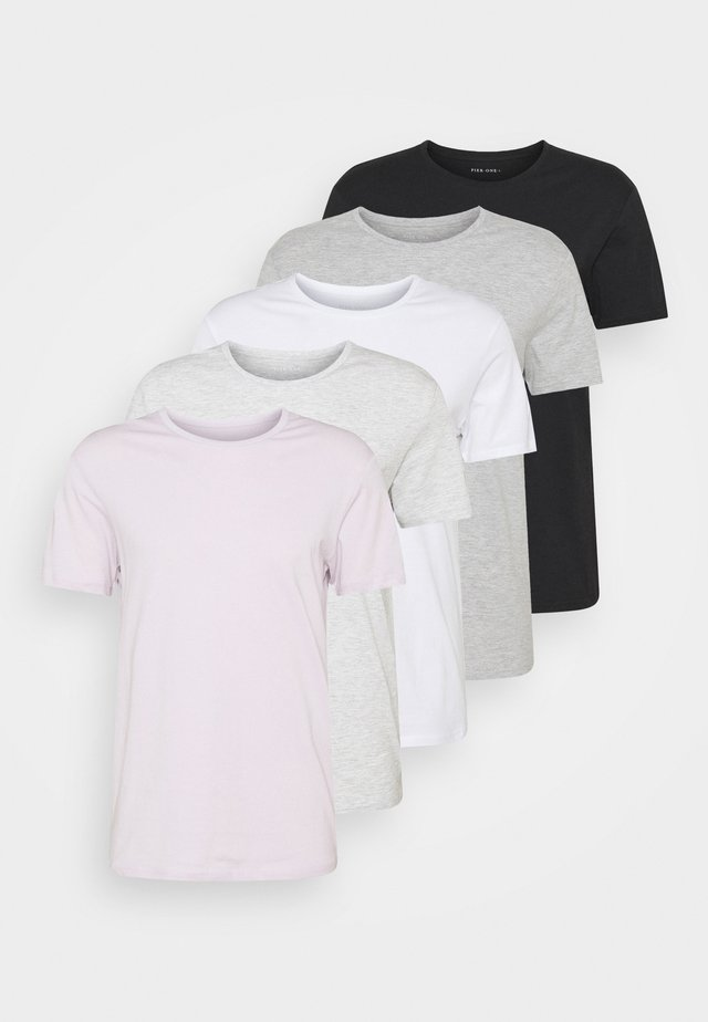 5 PACK - T-shirt basique - dark grey/light grey/black