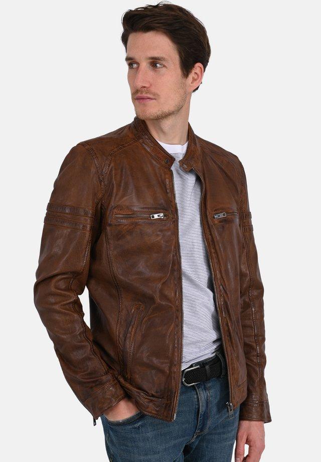LEWIS - Leather jacket - camel