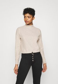 ONLY - ONLNELLA PULLSTRING CREWNECK - Long sleeved top - pumice stone - 0