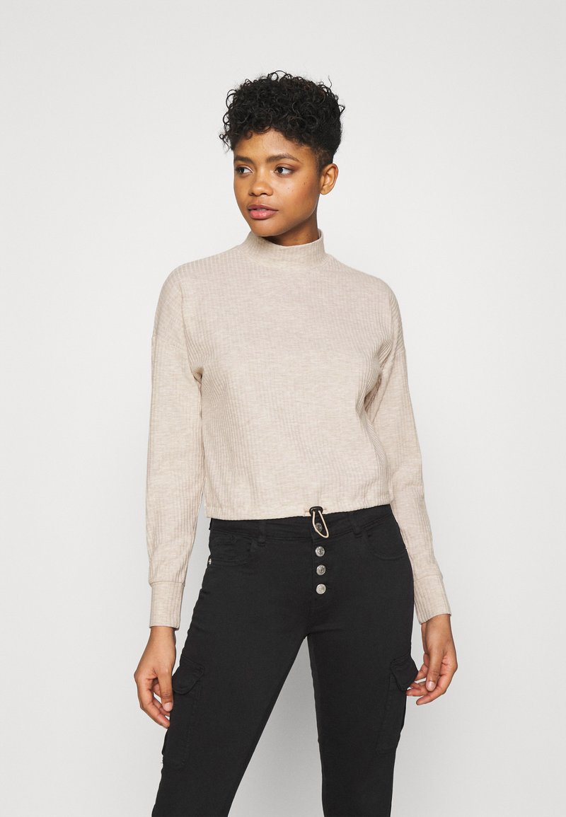 ONLY - ONLNELLA PULLSTRING CREWNECK - Long sleeved top - pumice stone