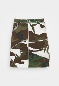 Missguided - CONTRAST CAMO PANEL RAW HEM MINI SKIRT - Mini skirt - khaki - 4