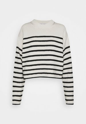 STRIPED BOUCLE  - Jumper - off white/navy
