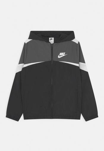 WOVEN - Training jacket - black/iron grey/white