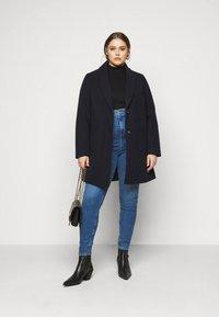 Dorothy Perkins Curve - MINIMAL SHAWL COLLARCROMBIE COAT - Short coat - navy - 1