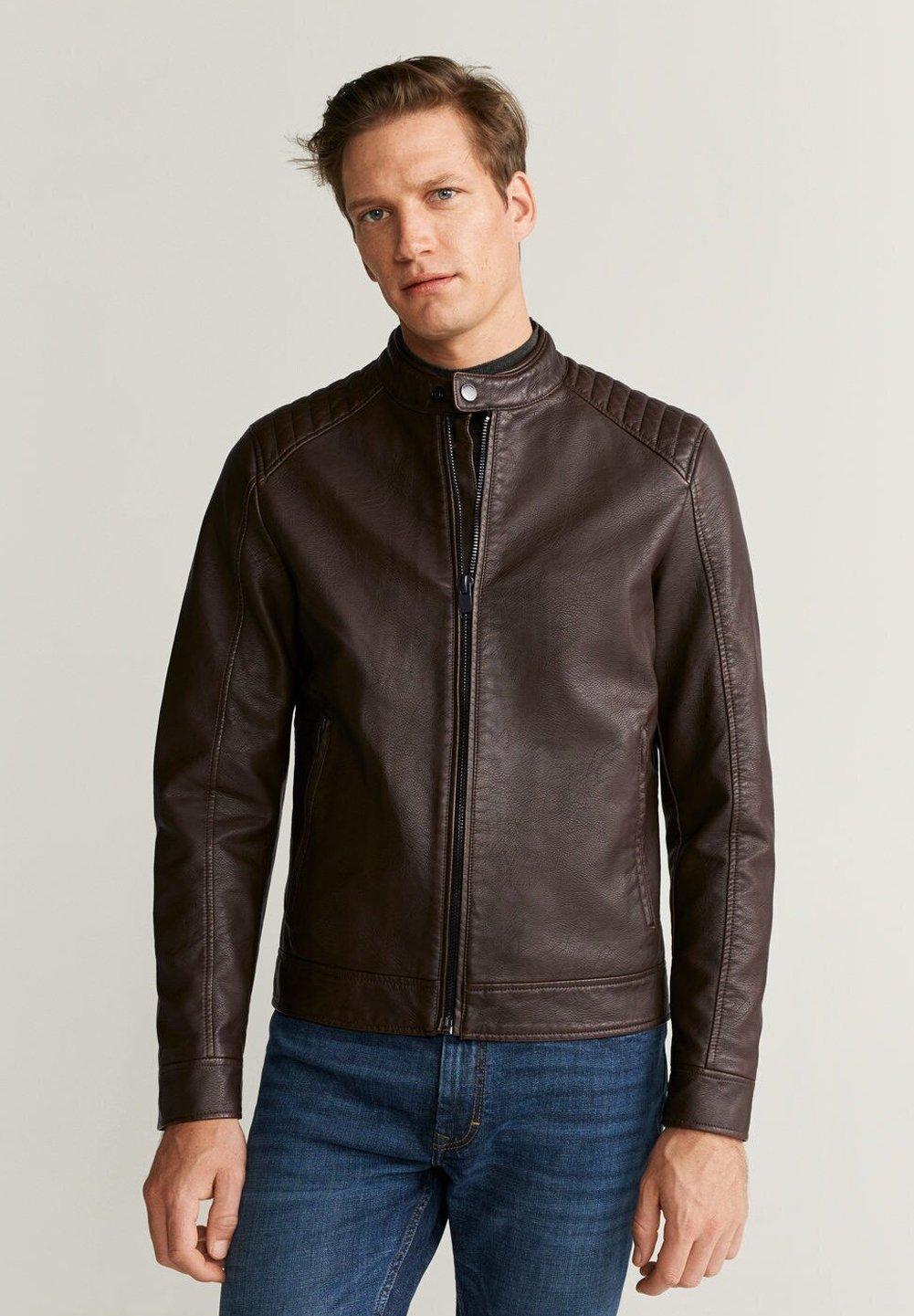 Mango Brakew Faux Leather Jacket Brown Zalando Co Uk