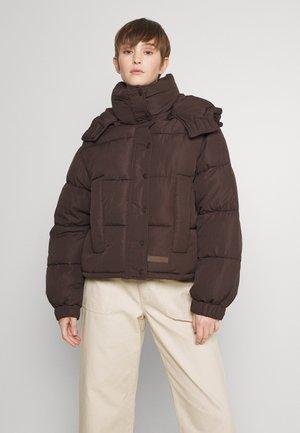 SHORT PUFFER JACKET HOOD - Winter jacket - brown