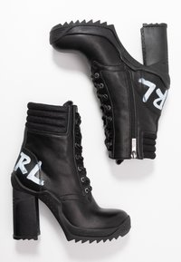 KARL LAGERFELD - VOYAGE ANKLE LACE LOGO BOOT - High heeled ankle boots - black - 3