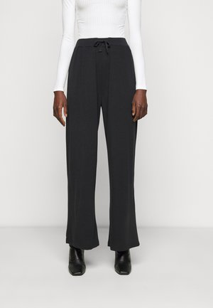 WIDE LEG TROUSERS - Tygbyxor - black