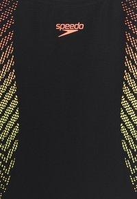 Speedo - PLASTISOL PLACEMENT MUSCLEBACK - Swimsuit - black/lazer lemon/fluo tangerine - 2
