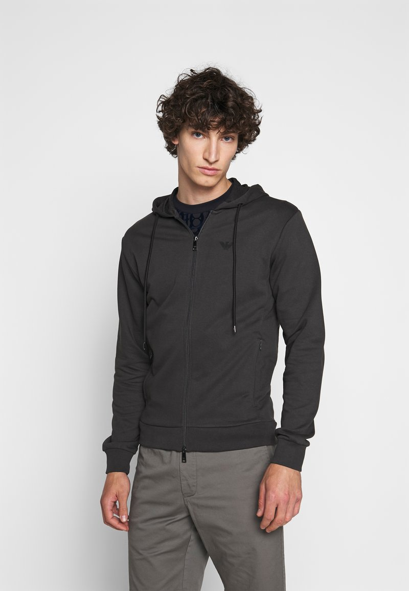 Emporio Armani - ZIPPED HOODIE  - Sweatjacke - dark grey