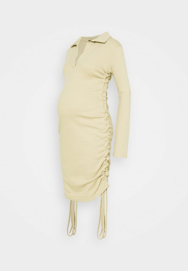 RUCHED SIDE COLLAR DRESS - Jersey dress - camel