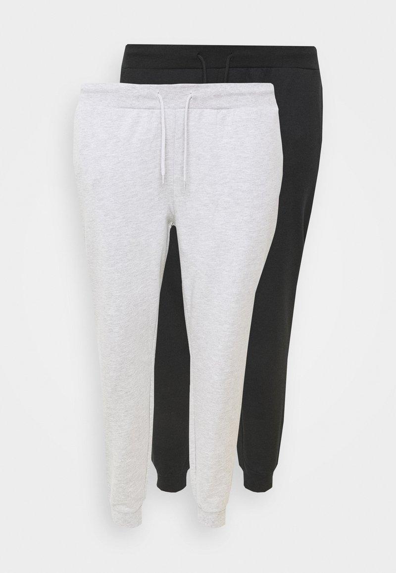 Even&Odd Curvy - 2er PACK - SLIM FIT JOGGERS - Verryttelyhousut - black/light grey