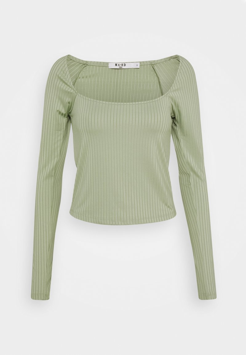 NA-KD - ROUND NECK - Topper langermet - khaki