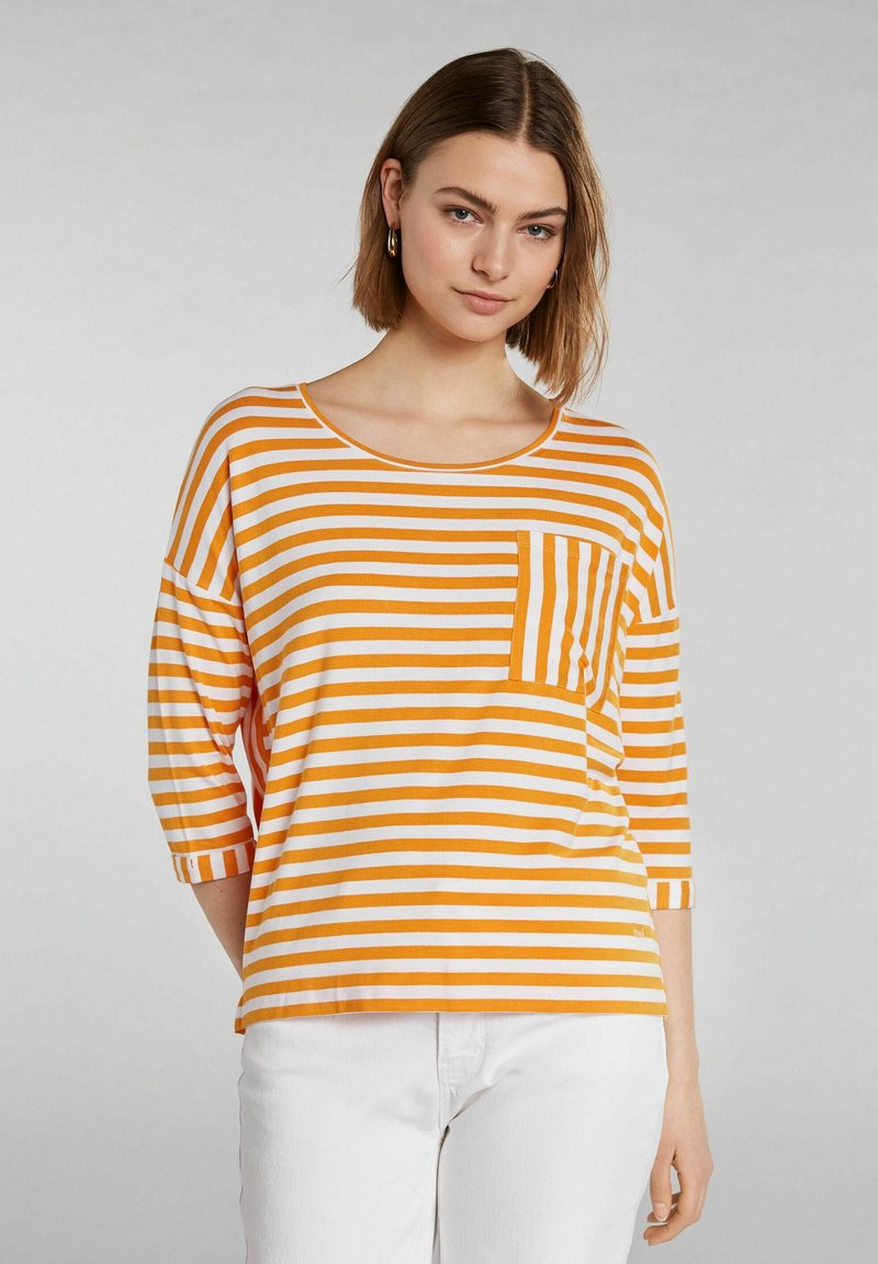 Oui - Long sleeved top - white yellow/or