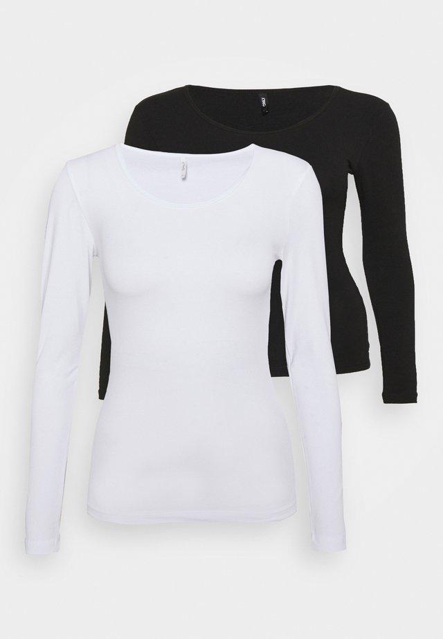 ONLLIVELOVE LIFE O NECK 2 PACK - Top sdlouhým rukávem - black/white