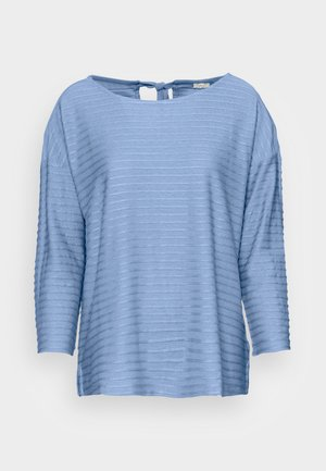 LOOSE STRUCTURED STRIPE TEE - Long sleeved top - mid blue structure