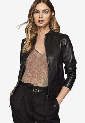 ALLIE - Leren jas - black