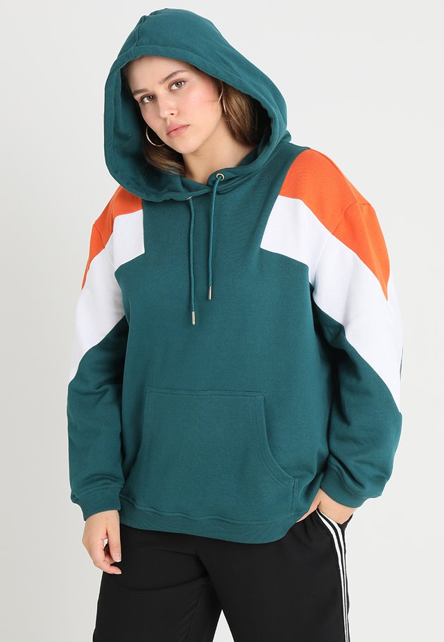 LADIES TONE BLOCK HOODY - Hoodie - jasper/rust orange/white