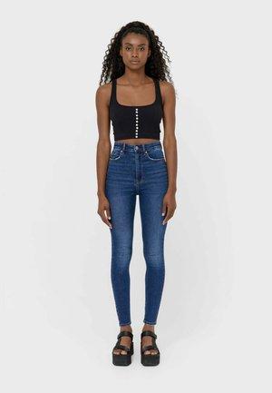 SUPER HIGH WAIST IM VINTAGELOOK - Jeans Skinny Fit - dark-blue denim