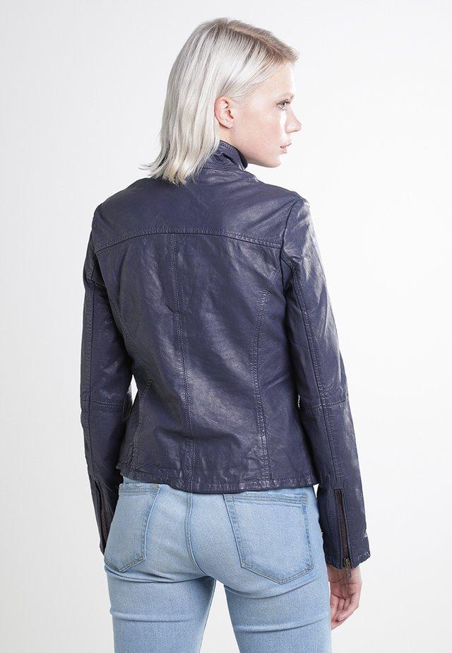 Leather jacket - deep blue