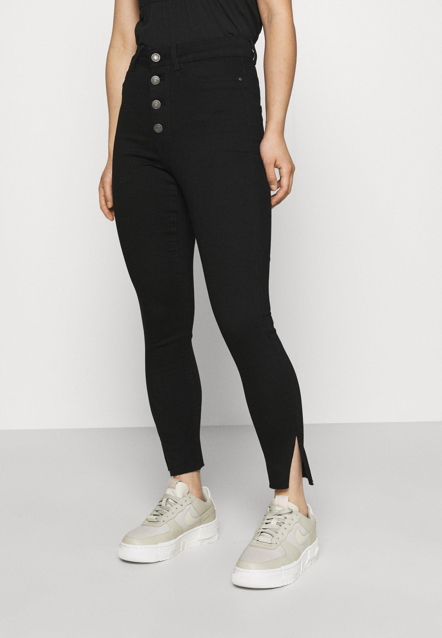 Damen NMCALLIE HW BUTTON JEANS  - Jeans Skinny Fit