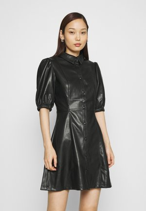 PUFF SLEEVE DRESS - Shirt dress - black