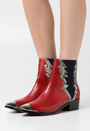 MAY - Cowboy/biker ankle boot - ruby/offwhite