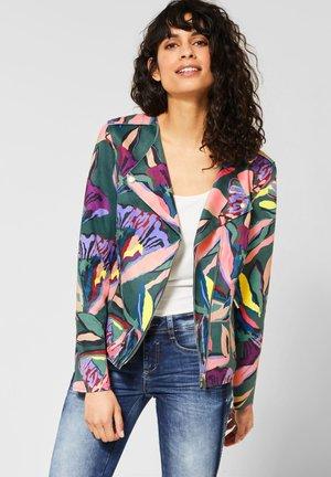 MIT BLUMEN - Faux leather jacket - green
