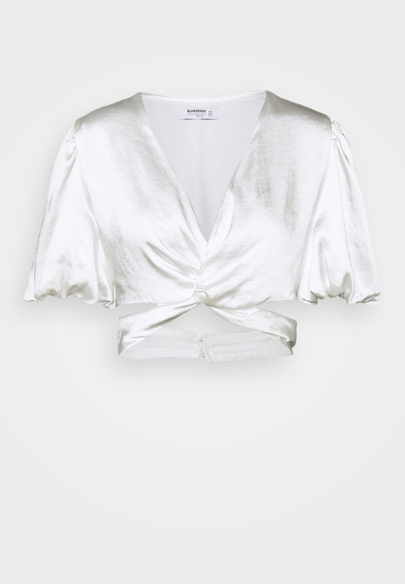 Glamorous Petite - TWIST FRONT CROP  WITH CUT OUT DETAILS PUFF SHORT SLEEVES - Camiseta estampada - white