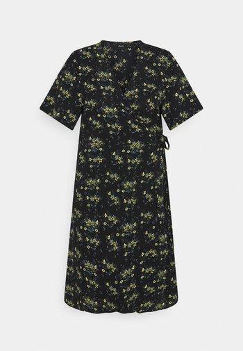 CAANNI WRAP KNEE DRESS - Korte jurk - black yellow