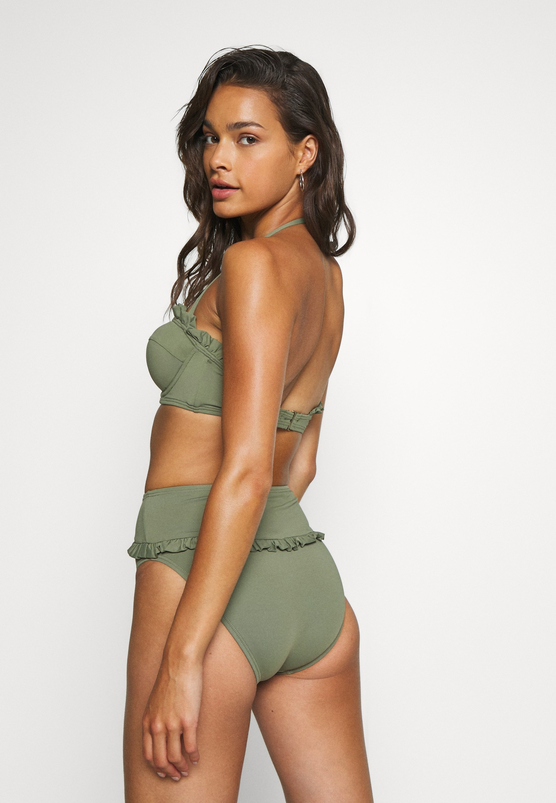 Damer ICONIC SOLIDS RUFFLED HIGH LEG BOTTOM - Bikinibukser