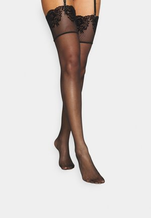 FLORAL TOP STOCKING - Over-the-knee socks - black