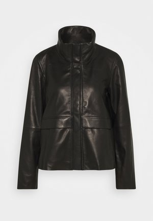 WINDBREAKER CONCEALED BUTTON - Leather jacket - pure black
