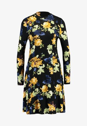 FLORAL FIT AND FLARE - Jerseykjole - black