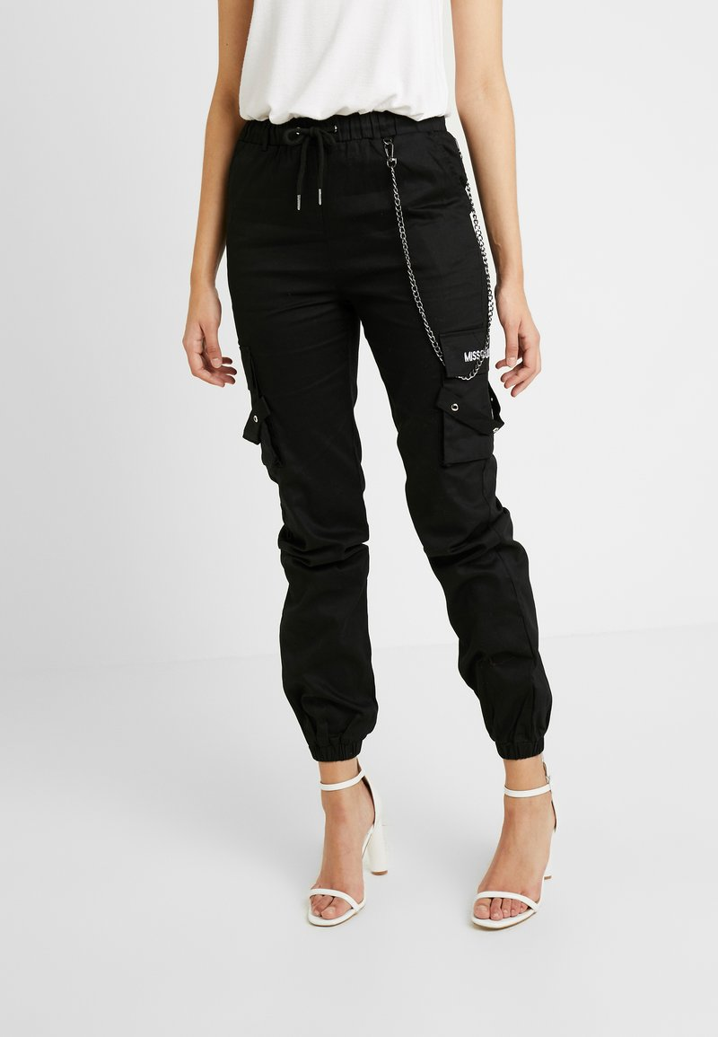 Missguided Tall - EMBROIDERED CHAIN - Broek - black