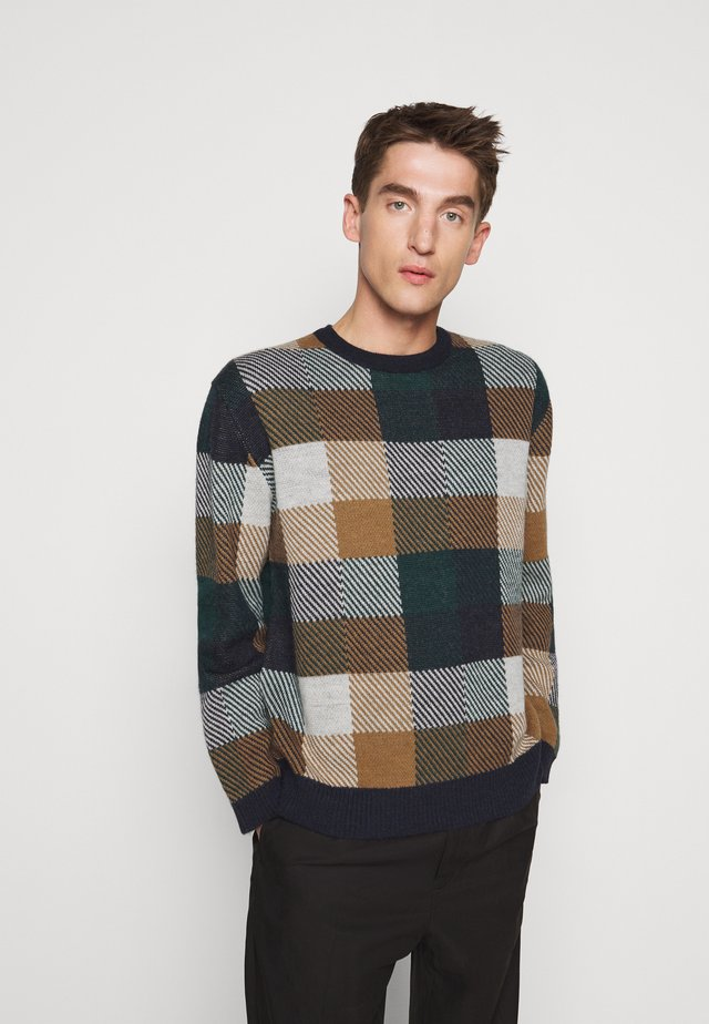Jumper - dark blue/brown/white