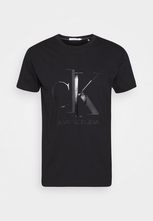SHINY MONOGRAM TEE - Print T-shirt - black