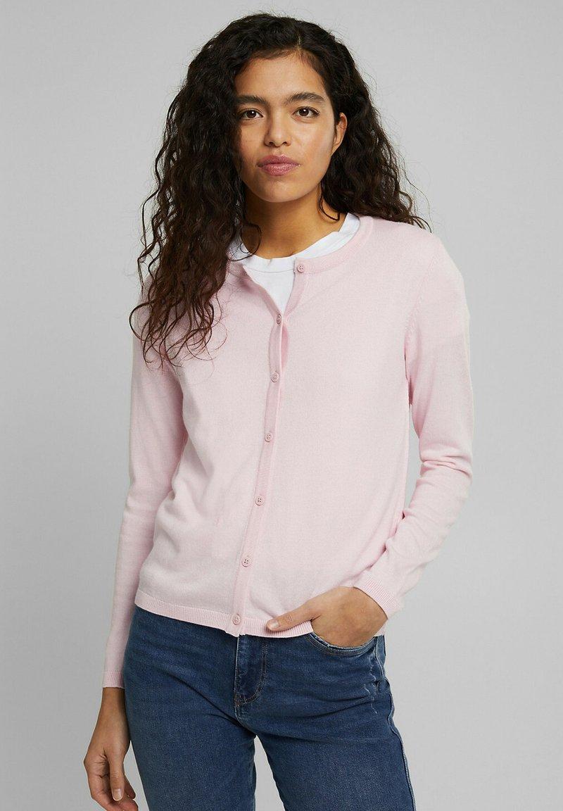 edc by Esprit - CORE ROUND NECK CARDIGAN - Cardigan - light pink