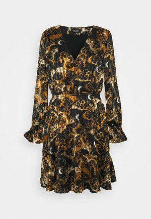 PRINTED LONG SLEEVED MINI DRESS - Denní šaty - black