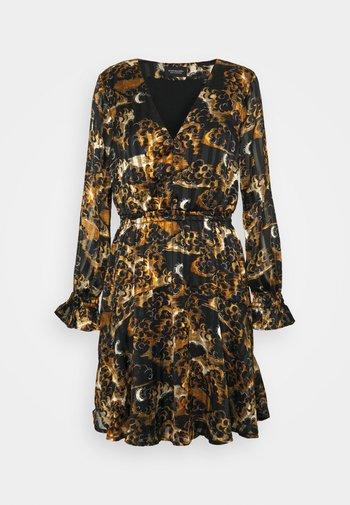 PRINTED LONG SLEEVED MINI DRESS - Day dress - black