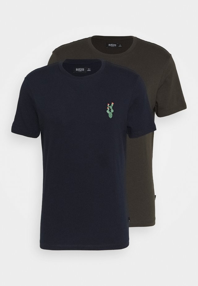 EMBROID 2 PACK - Basic T-shirt - navy/khaki