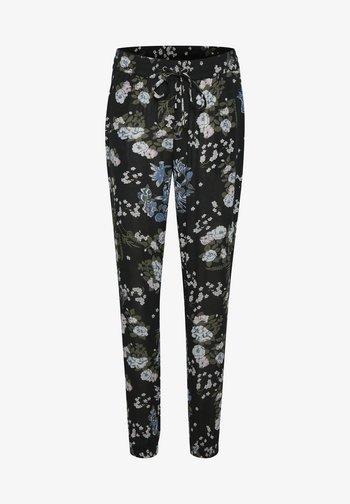 Pantaloni sportivi - black multi color flower print