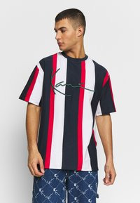 Karl Kani - UNISEX SIGNATURE STRIPE TEE - Print T-shirt - navy/red/white - 0