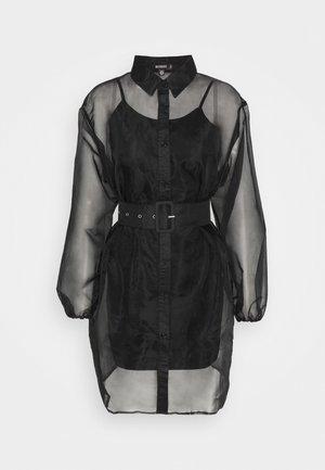 BELTED BALLOON ORGANZA SHIRT DRESS - Skjortklänning - black