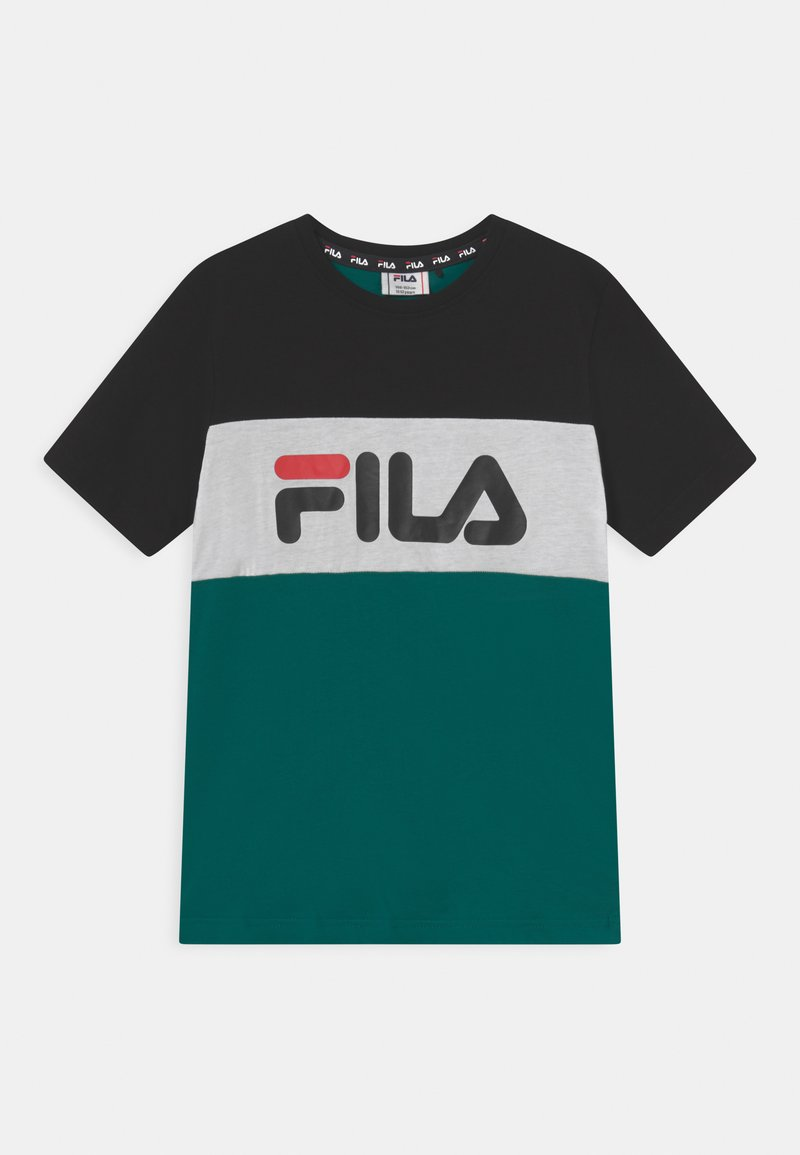 Fila - MARINA BLOCKED TEE UNISEX - Print T-shirt - storm/black/bright white