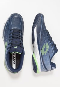 Lotto - MIRAGE 300 CLY - Zapatillas de tenis para tierra batida - navy blue/green neo/silver metal - 1