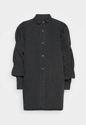 ELASTICATED PUFF SLEEVE DRESS - Dongerikjole - black