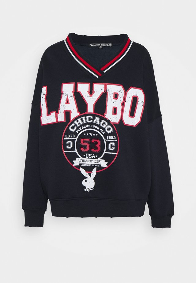PLAYBOY VARSITY GRAPHIC V NECK - Sweatshirt - navy