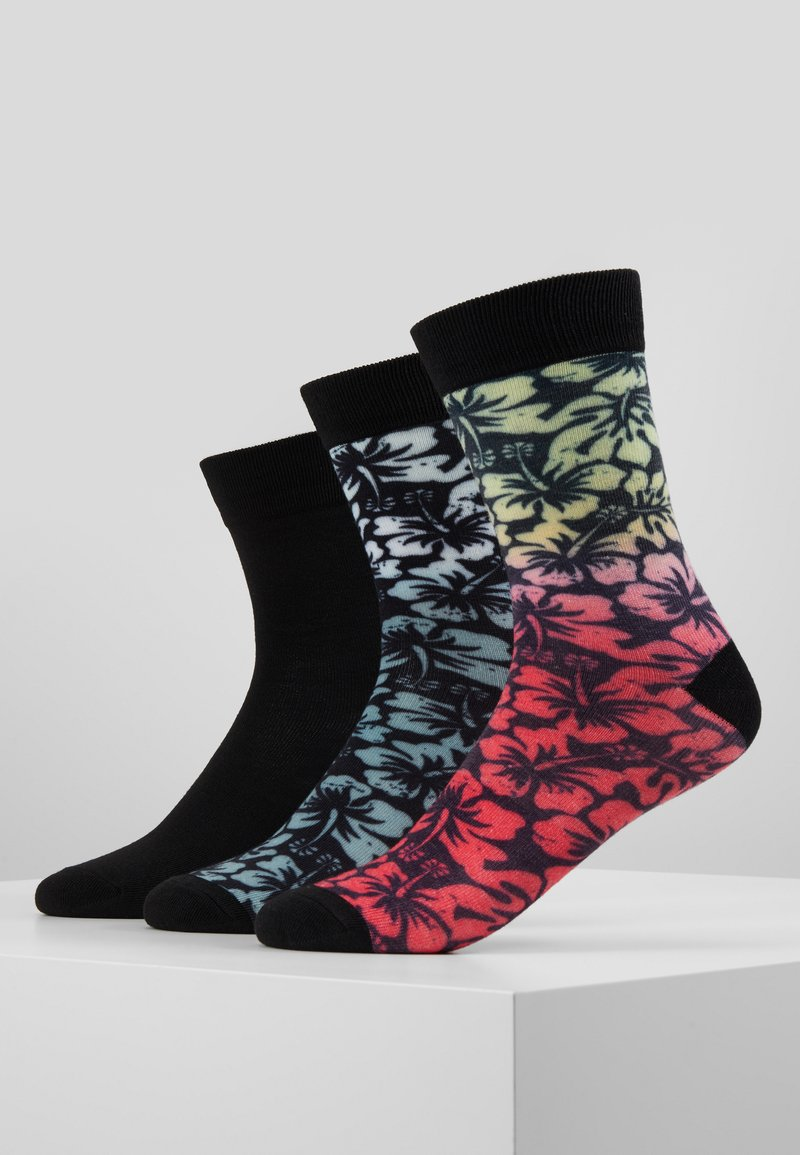Urban Classics - FLOWER SOCKS 3 PACK - Chaussettes - black/grey/red